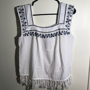 Hippie Laundry blue and white fringe top Sz medium